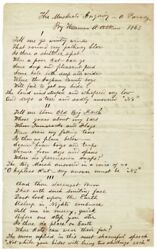 Harman A Atkins  Two-page manuscript poem The Muskrats Inquiry a Parody 1863
