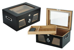 Quality 120+ Ct Count Cigar Humidor Humidifier Wooden Case Box Hygrometer Fiv