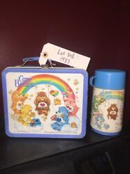 Care Bears Metal Lunchbox With Thermos With Bite Marks 1983 Aladdin Lot 308 B