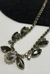 Vintage Estate Silver Smokey AB Rhinestone Prong Set High End Necklace