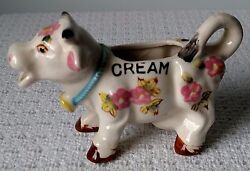 Vintage Ceramic Cow Creamer / Cream Pitcher With Pink Flowers Very Cute