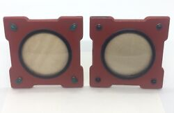 Pair Antique Art Deco Sterling Silver Red And Black Enamel Cabochon Picture Frames