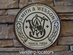 Smith And Wesson Round Tin Sign Metal Hunt Cabin Gun Logo Ad Wall Decor 1608 New