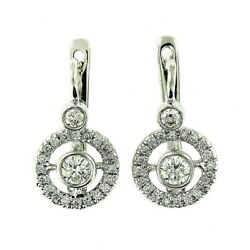 7900 1.10 Ct White Gold Russian Antique Style Diamond Hanging Earrings 14 Kt