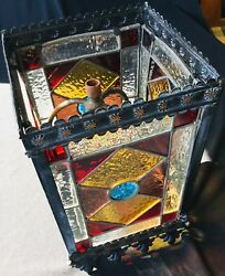 Antique Large Arts & Crafts Stained Glass Lantern Hall Light Stunning Colours
