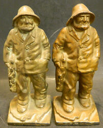 Antique Littco Cast Iron Fisherman Bookends Brass Finish 6.75 X 2.88 Very Good