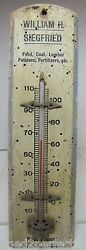 Old Siegfried Feed Coal Lumber Potatoes Fertilizers Wood Ad Sign Thermometer