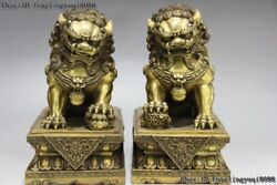 10 Chinese Brass Copper Royal Palace Evil Guardian Door Foo Dog Lion Beast Pair