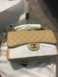 chanel double flap beige and gold rare jumbo caviar 2019