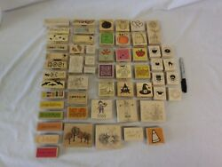 Large Lot Of Halloween Fall Themed Wooden Mounted Rubber Stamps Stampinand039 Up More