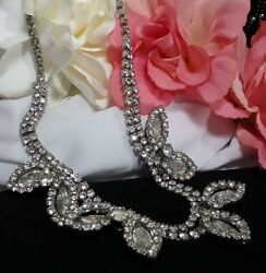 Vintage Estate Silver Rhinestone High End Designer Collar Bridal Necklace