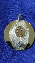 14kt Vintage Estate Custom Made Disc With Diamond And Initial O---8.3 Grams