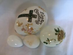 Antique Lot Easter Greetings Blown Milk Glass Eggs Handpainted 4 Various Sizes