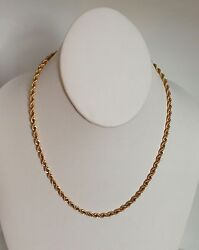 Heavy Vintage 18 Solid 14k Yellow Gold Rope Necklace 22.9 Gr 3.9 Mmone Owner