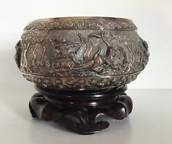Very Fine Old Sterling Silver Repousse Bowl And Old Stand Ramakien Thailand Siam
