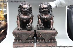 China Red Bronze Copper Evil Guardian Palace Door Foo Dog Lion Beast Statue Pair