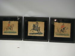 Rare Three Color Etchings 1876 Of English Generals, Signed