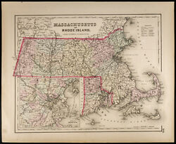 Carte Ancienne [1857colton] Massachusetts And Rhode Island. Antique Map Usa