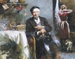 Pino S/n Embell Stretched Canvas Fleeting Moments Old Man Smoke Pipe 32x40coa
