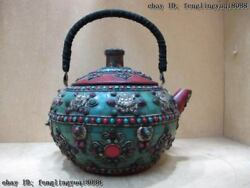 11 Nepal Copper Inlay Coral Turquoise Ruby Beryl Eight Treasures Teapot Wine Pot