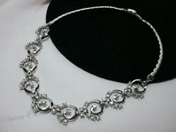 Vintage Estate Silver Pennino Rhinestone Swirl Bridal Prom High End Necklace
