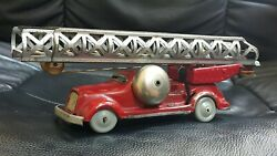 Vintage Fire Truck With Bell Tin Toy Wind Up Mechanical Prewar Germany Ddr Gdr