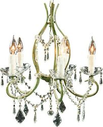 Rococo 5-arm Chandelier Glass Swags/pendants Antique Green Finish