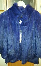 Armani Collezioni Blue Hare Real Fur Jacket Coat Size 2 Or 38 2975 Sold Out