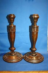 Old Wooden Candlestick Holders