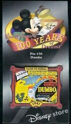 Disney Pin 100 Years Of Dreams 50 Dumbo Movie Poster Flying Elephant Mint Card