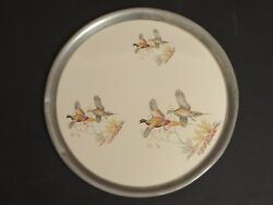 Vintage Ceramic And Pewter Round Tray W Pheasants In Flight