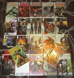 Lot Of 22 The Walking Dead Comic Book Run All Out War 110-122 + Covers Image Bandb