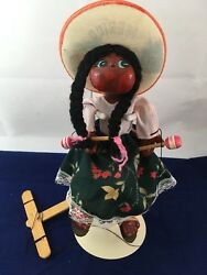 Vintage Mexican Marionette Puppet String Doll Red Cheeks 9.5 1940's