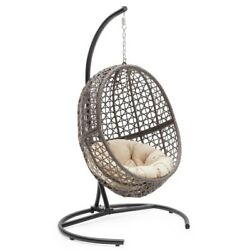Egg Hanging Chair Outdoor Wicker Resin Patio Swing Lounger Cushion Steel Frame