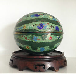 Rare 9 Old Vintage Chinese Cloisonne Box Green Floral Melon Superb Old Stand