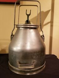 Vintage Stainless Steel Milk Can Bucket Farm Dairy With Lid Useable Or Decor