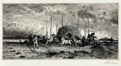 Peter Moran Signed And Very Rare 19thc 1882 Etching Harvest In San Juan,new Mexico