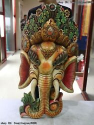 Nepal Buddhism Old Wood Hand Carved Color Painted Elephant God Head Mask Statue