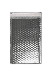 100 Pcs Metallic Glamour Bubble Mailers 9quot; x 11.5quot; Padded Envelope Silver Bags $92.44