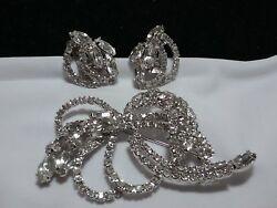 Vintage Silver High End Estate Rhinestone Brooch Pin Earring Bridal Set