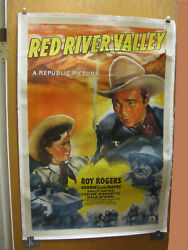 Roy Rogers Red River Valley Linen Backed 21x47 Movie Poster