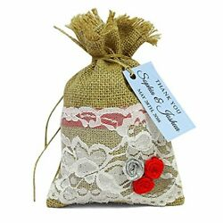 20 Wedding Favor Burlap Jute Bags With Custom Tags And Net Lace Bags FAB17 A $48.00