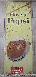 1950s Have A Pepsi Soda Bottle Cap Large Embossed Metal Ad Sign Stout Co