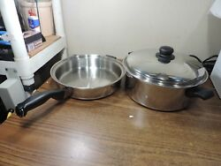 Cutco 11-1/2 Skillet/fry Pan, And Stockpot And Cover 5 Ply Aluminum Core Usa
