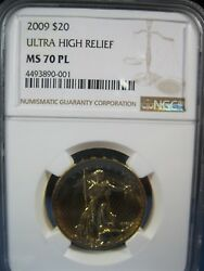 2009 $20 ST GAUDENS GOLD ULTRA HIGH RELIEF   NGC 70 PROOF LIKE FREE S/H