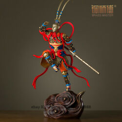 China Copper Painted Sun Wukong Pedal Cloud Monkey King Art Deco Sculpture