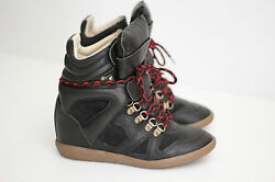 Isabel Marant Etoile And039buckand039 Leather Hidden Wedge Sneaker- Black - Size 7us X86