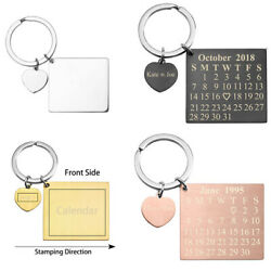 Personalized Calendar Keychain Heart Tag Dangle Anniversary Meaningful Date Gift