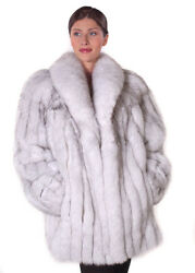 Real Genuine Natural Blue Fox Fur Jacket Coat 29 For Women Size 12