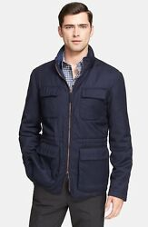285 Armani Collezioni Wool And Cashmere Quilt Lined Field Jacket Size 56-46